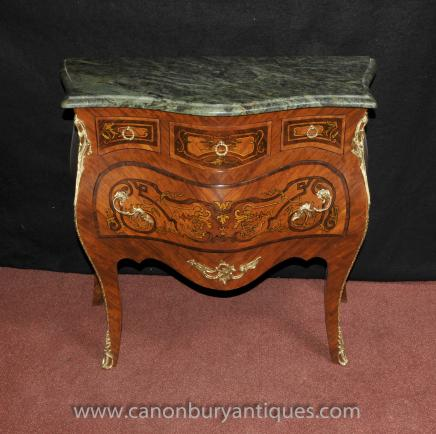 Louis XVI Bombe Chest Drawers Nightstand Marquetry Inlay