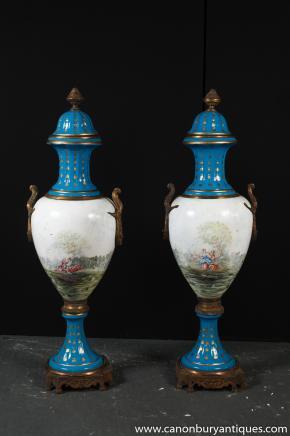 Pair Architectural Sevres Porcelain Urns Cyan Vases