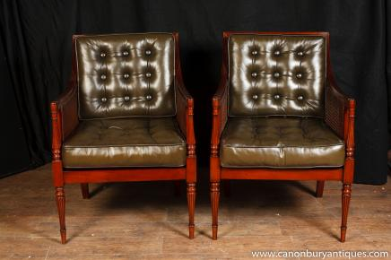 Pair Art Deco Arm Chairs Mahogany Fauteils Club Chair
