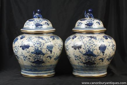 Pair Blue and White Porcelain Lidded Urns Kangxi Chinese Pottery
