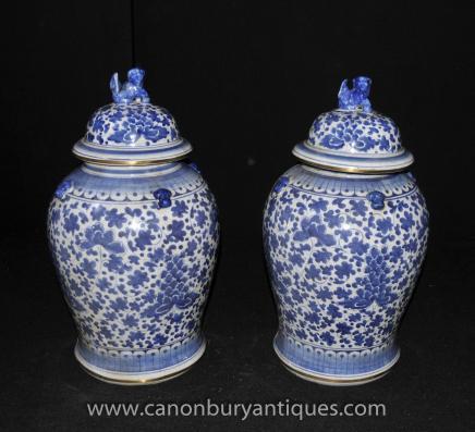 Pair Blue White Porcelain Kangxi Chinese Ginger Jars Urns