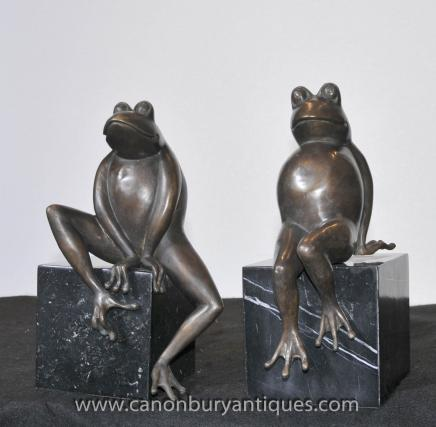 Pair Bronze Frog Toad Statues Casting Bookends Marble Base