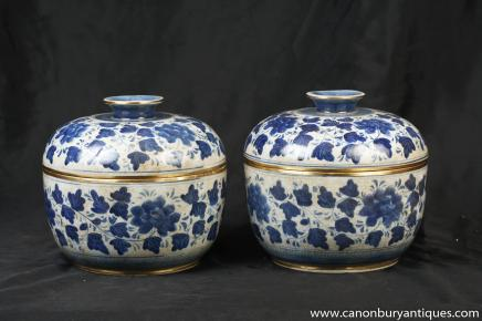 Pair Chinese Kangxi Blue White Porcelain Lidded Pots Jars Pottery