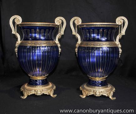 Pair Cut Glass Empire Vases Urns
