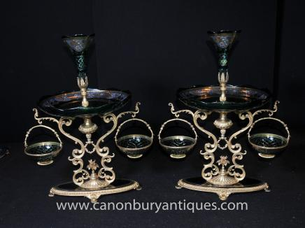 Pair Cut Glass French Empire Epergnes Centrepiece Stands
