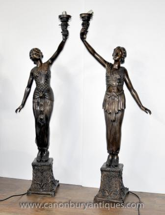 Pair French Art Nouveau Bronze Female Figurine Lamps Candelabras Torcheres