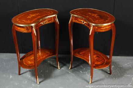 Pair French Empire Kidney Bean Side Tables Inlay