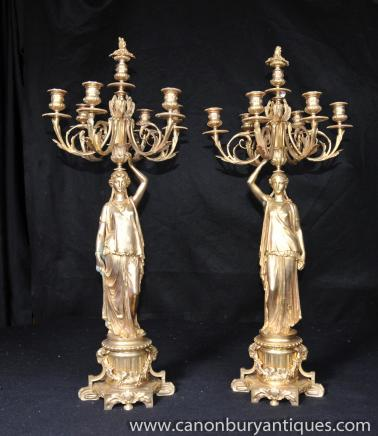 Pair French Empire Ormolu Figurine Candelabras Candles