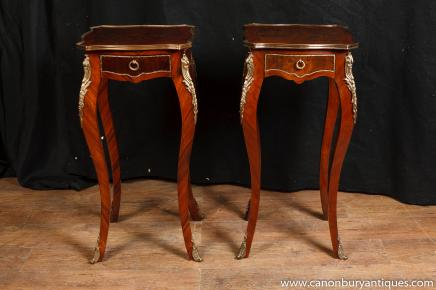 Pair French Empire Pedestal Side Tables Stands Kingwood