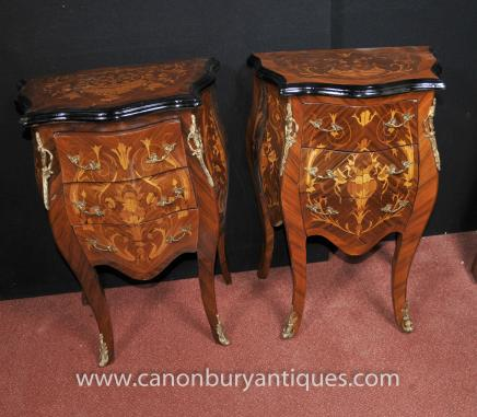 Pair French Louis XVI Nightstands Bedside Chests Bombe Commodes