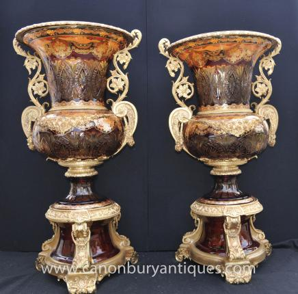 Pair Giant Russian Imperial Cut Glass Campana Urns Vases