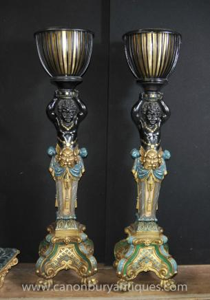 Pair Italian Cherub Venetian Torcheres Column Stand Planters
