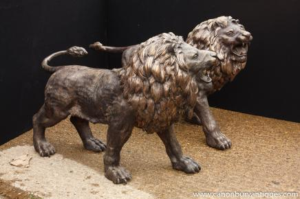 Pair Large Italian Bronze Lion Statues Gatekeepers Cats