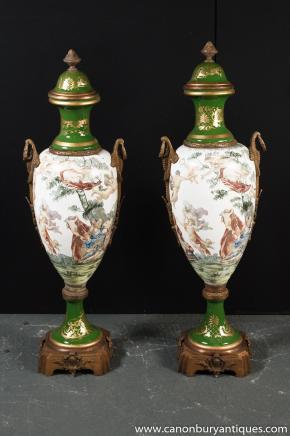 Pair Large Sevres Porcelain Amphora Urns Champleve Vases