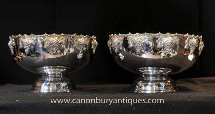 Pair Large Silver Plate Punch Bowls Planter Urn Victorian Sheffield