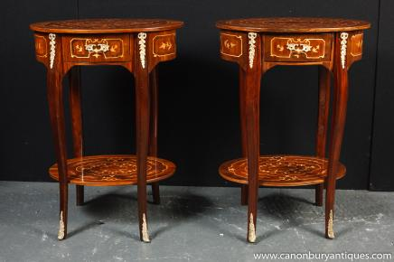 Pair Louis XIV Inlay Side Tables Occasional Sofa Table