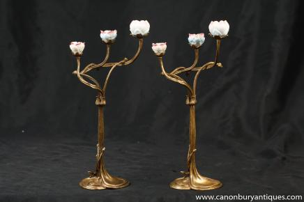 Pair Ormolu Art Nouveau Encrusted Floral Candlesticks Candelabras Candle