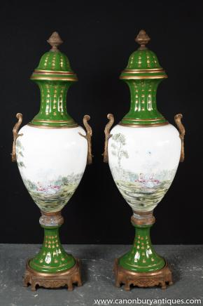 Pair Paris Sevres Porcelain Amphora Urns Vases French Pottery