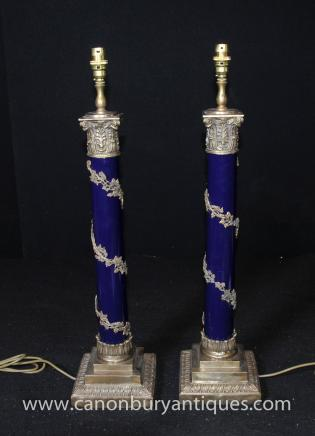 Pair Regency Column Table Lamps Lights Corinthian Ormolu