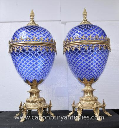 Pair Russian Imperial Cut Glass Lidded Urns Ormolu Mounts Vase