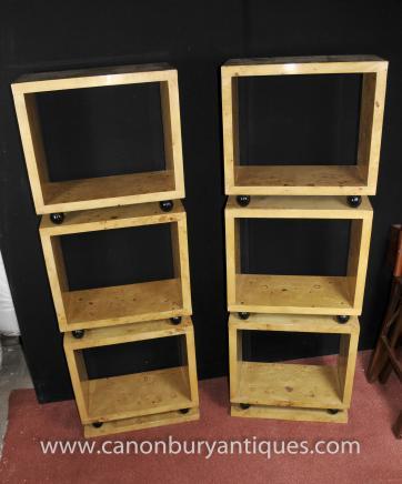 Pair Tall Art Deco Bookcases Shelf Units Blonde Walnut Furniture