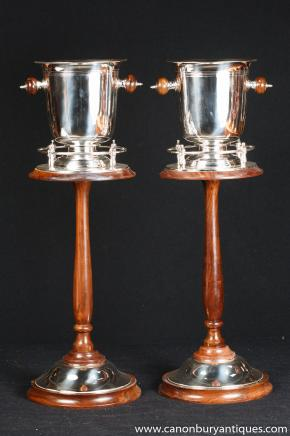 Pair Victorian Silver Plate Mahogany Champagne Buckets Wine Cooler Stand