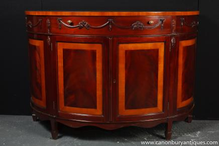 Regency Demi Lune Commode Cabinet Mahogany Satinwood Banding Server