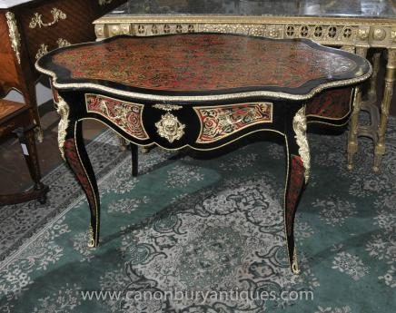 Shaped French Boulle Desk Bureau Plat Inlay Writing Centre Table
