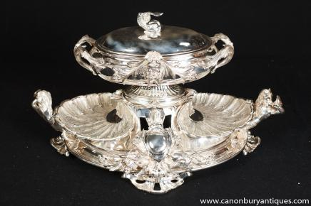 Victorian Rococo Silver Plate Serving Platter Centrepiece Epergne
