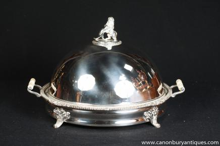 Victorian Silver Plate Domed Serving Platter Food Tray