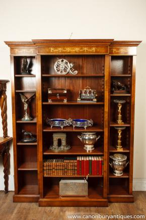 Walnut Regency Breakfront Bookcase Open Sheraton Inlay