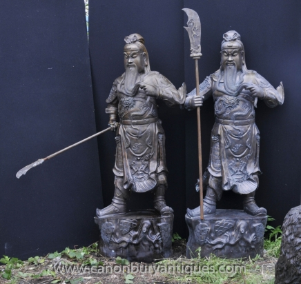 XL Pair Bronze Japanese Samurai Warrior Statues Architectural Antiques