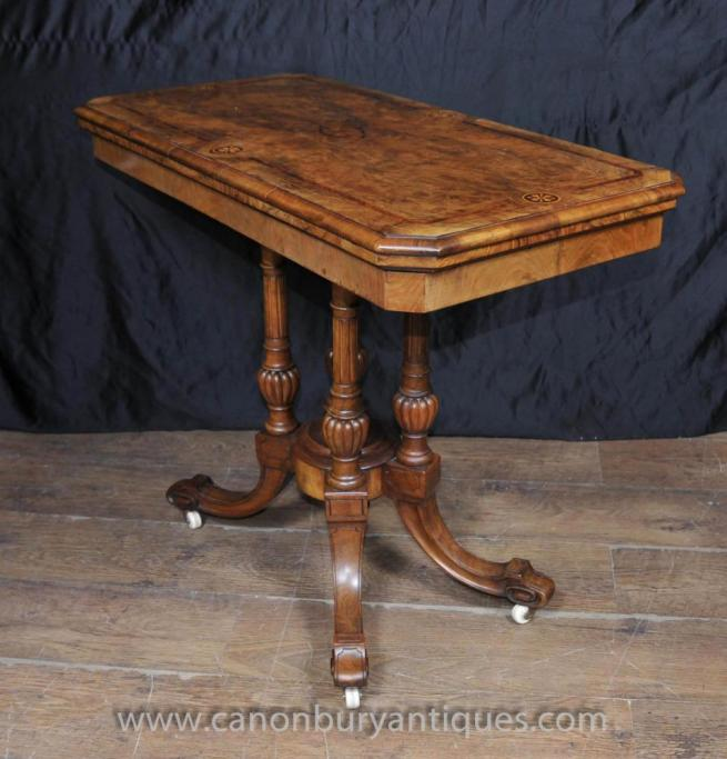 Antique Victorian Card Games Table in Walnut Side Tables
