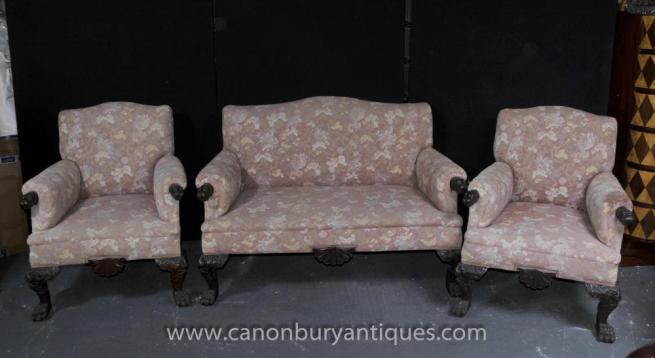 Antique Chippendale Sofa Set Arm Chair Couch Seats Hand Carved Settee