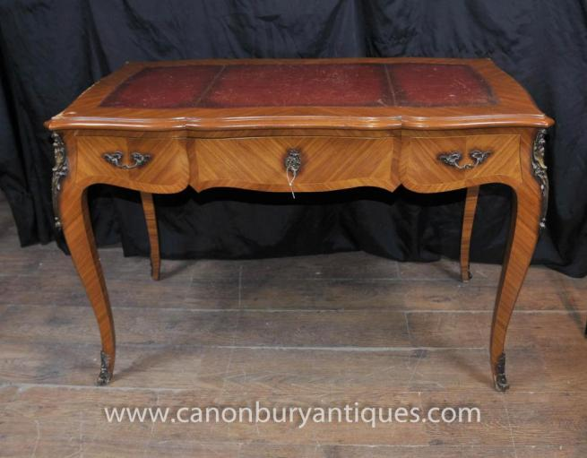 Antique French Empire Bureau Plat Writing Table Extending Desk