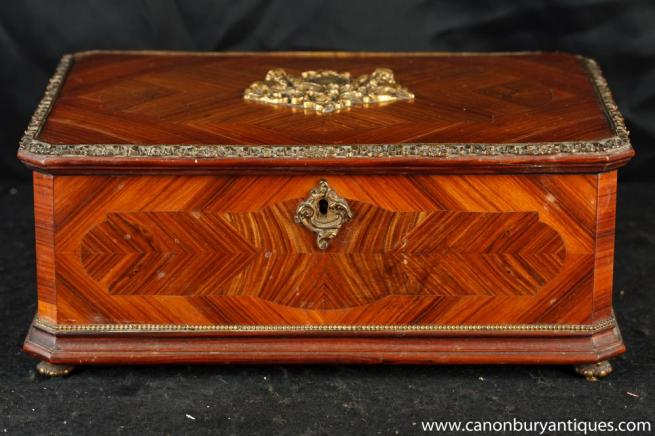 Antique French Empire Wooden Box Kingwood Circa 1880 Jewellery Case