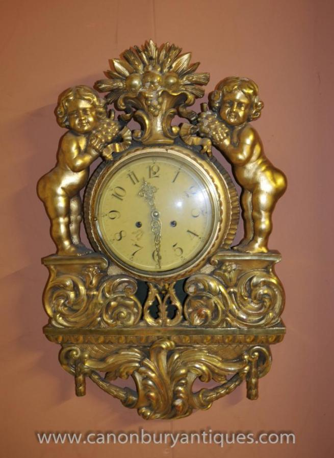 Antique French Gilt Cherub Wall Clock 1920