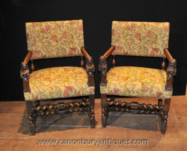 Antique Walnut Hand Carved Italian Arm Chairs Barley Twist 1860