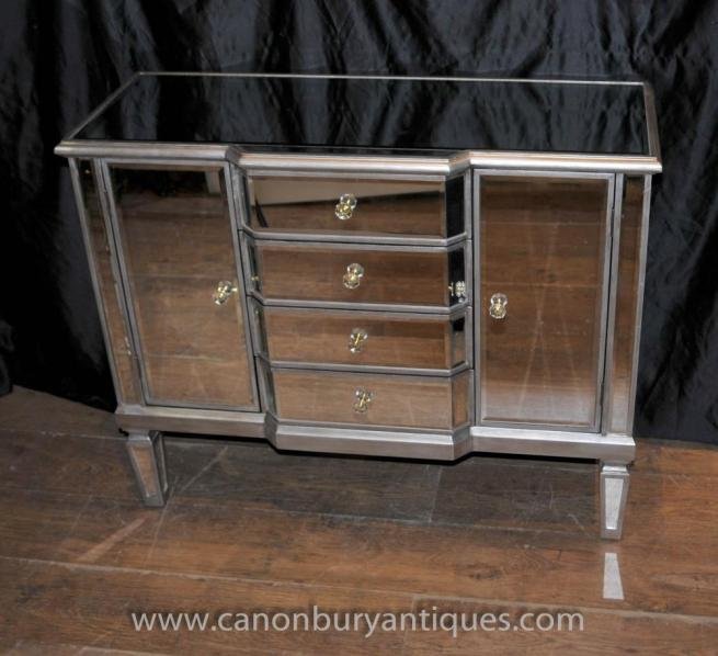 Art Deco Mirrored Commode Chest Drawers Chests Sideboard