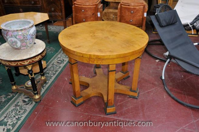 Art Deco Round Centre Table Blonde Walnut Biedermeier