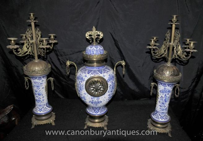 Chinese Blue White Porcelain Clock Set Candelabras Ming Garniture