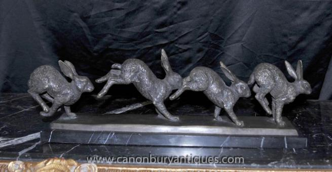 English Bronze Running Rabbits Statue Rabbit Casting