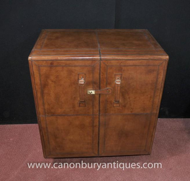 English Campaign Furniture Leather Drinks Cabinet Cocktail Chest