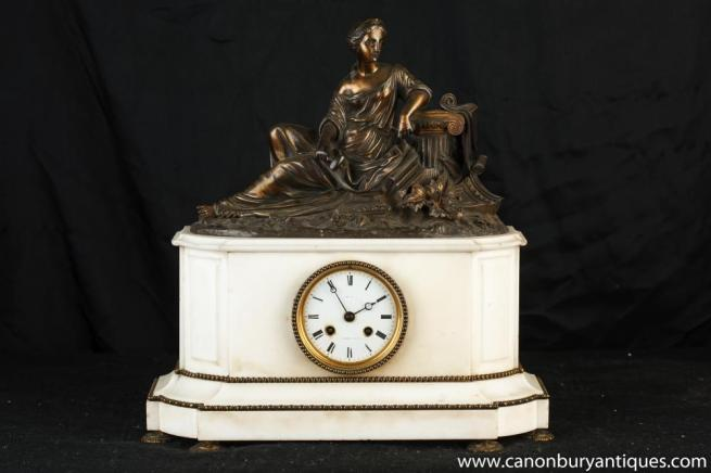 French Empire Marble Bronze Figurine Mantle Clock