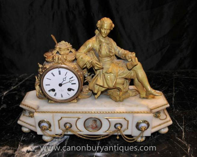 French Empire Marble Ormolu Napoleon Mantle Clock