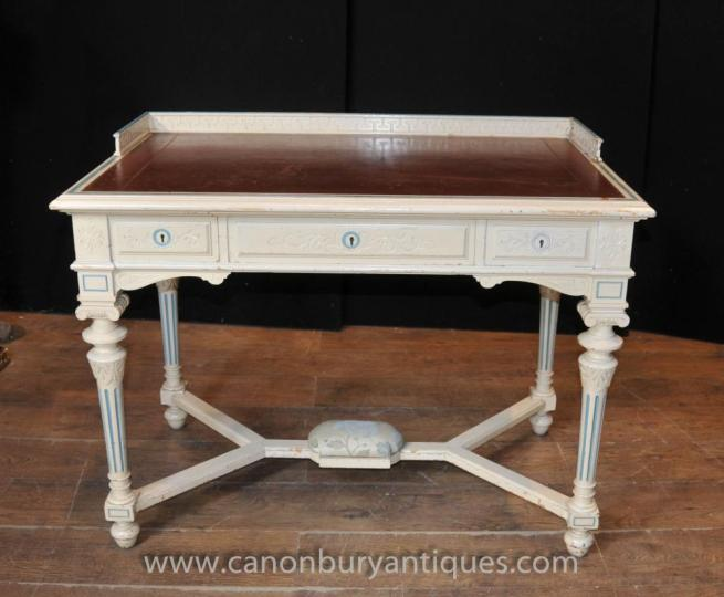 French Napoleon Desk Writing Table Bureau Painted Shabby Chic