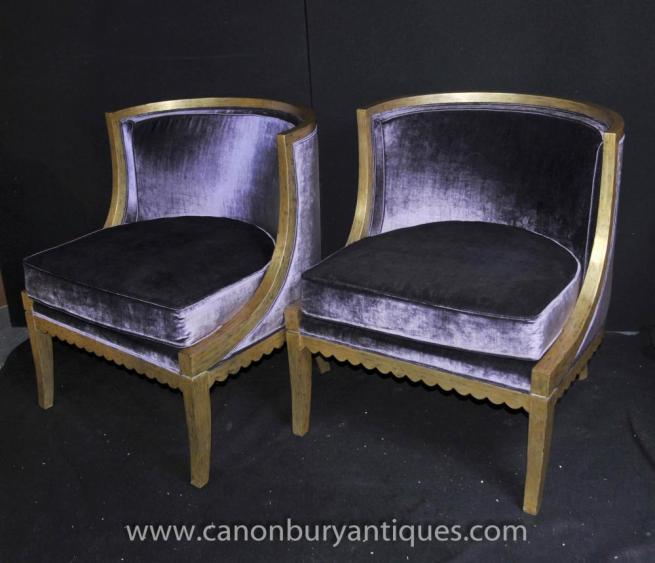 French Regency Tub Chairs Arm Fauteils Gilt Frame Bergere