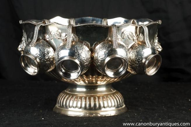 George II Silver Plate Wine Punch Bowl Cup Set