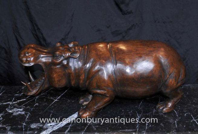Hand Carved African Hippo Statue Hippopotamus Tribal Art