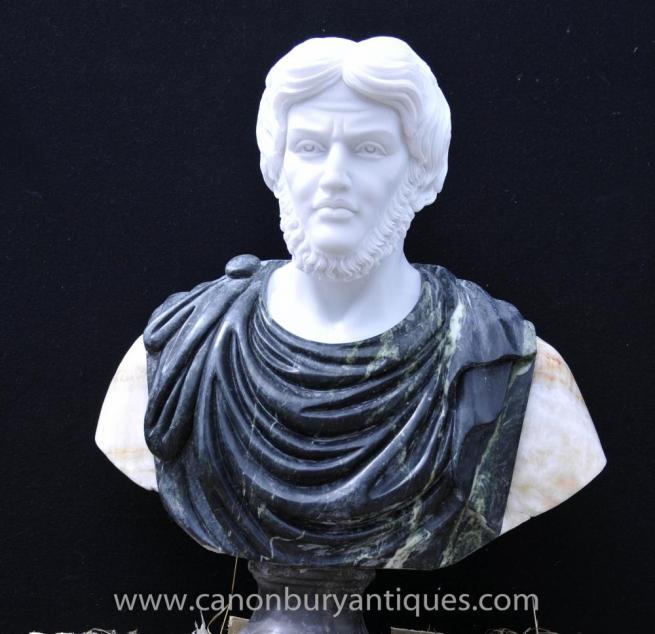 Hand Carved Italian Marble Bust Roman Emperor Titus Atoninus Pius